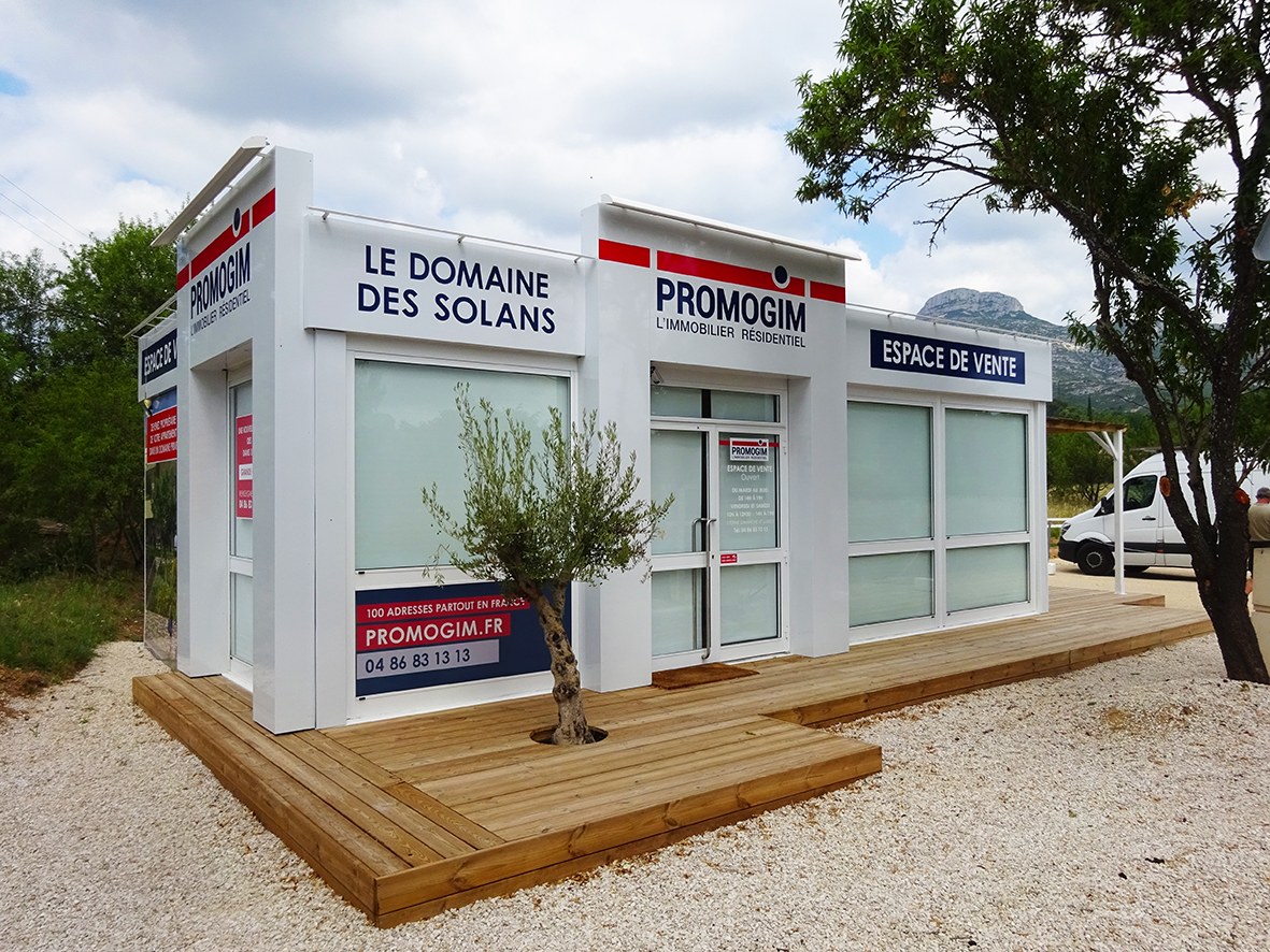 Habillage de l'espace de vente Promogim Le Domaine des Solans